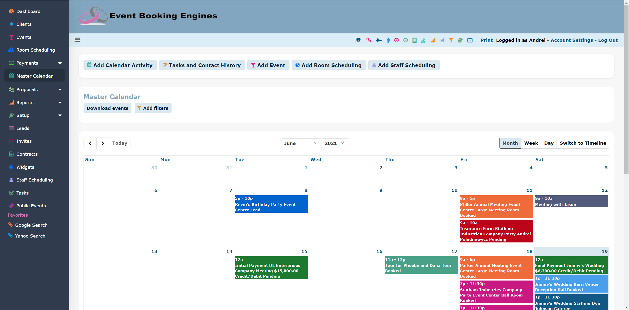 Event Booking Engines Software - Master Calendar Grid View