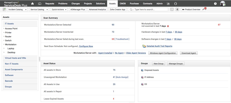 ManageEngine ServiceDesk Plus Software - Asset management