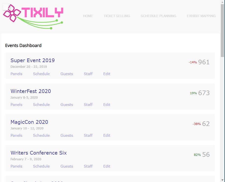Tixily dashboard screenshot