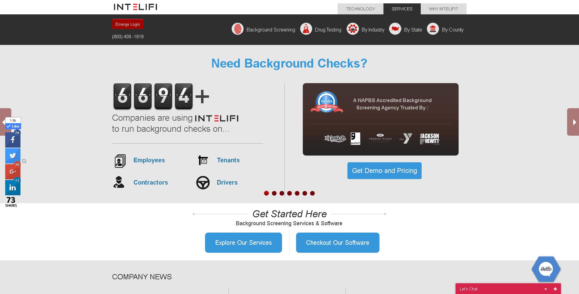 Emerge screenshot: employment background checks by Intelifi