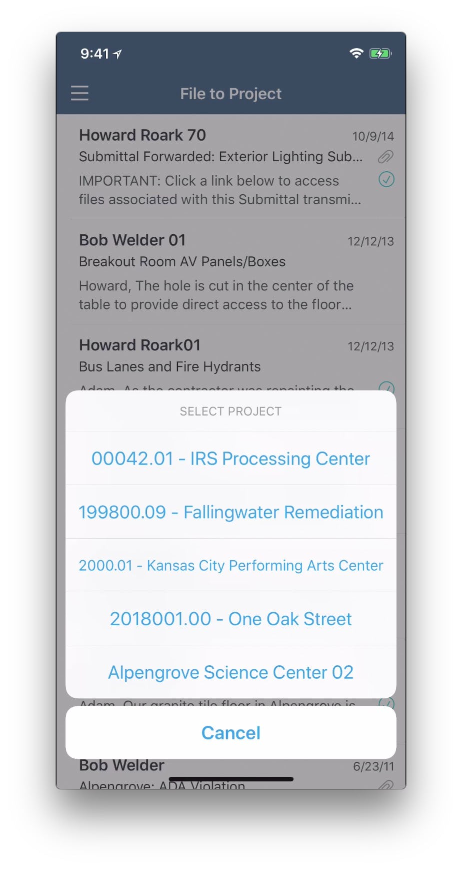 ConstructEx Software - Mobile file in project menu
