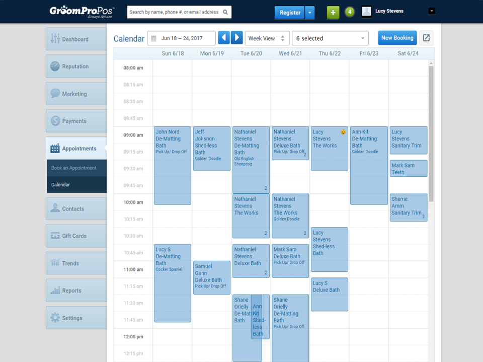 View your entire team schedule or just an individual staff member at a glance