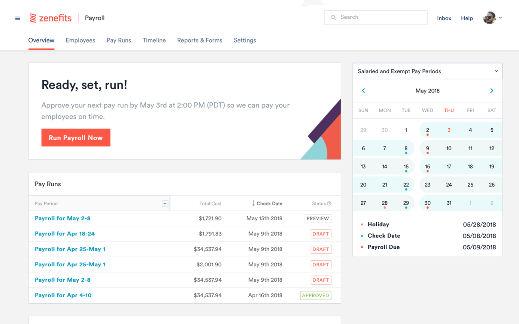 Zenefits - Payroll run