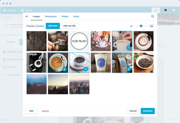 WordPress screenshot: Media library