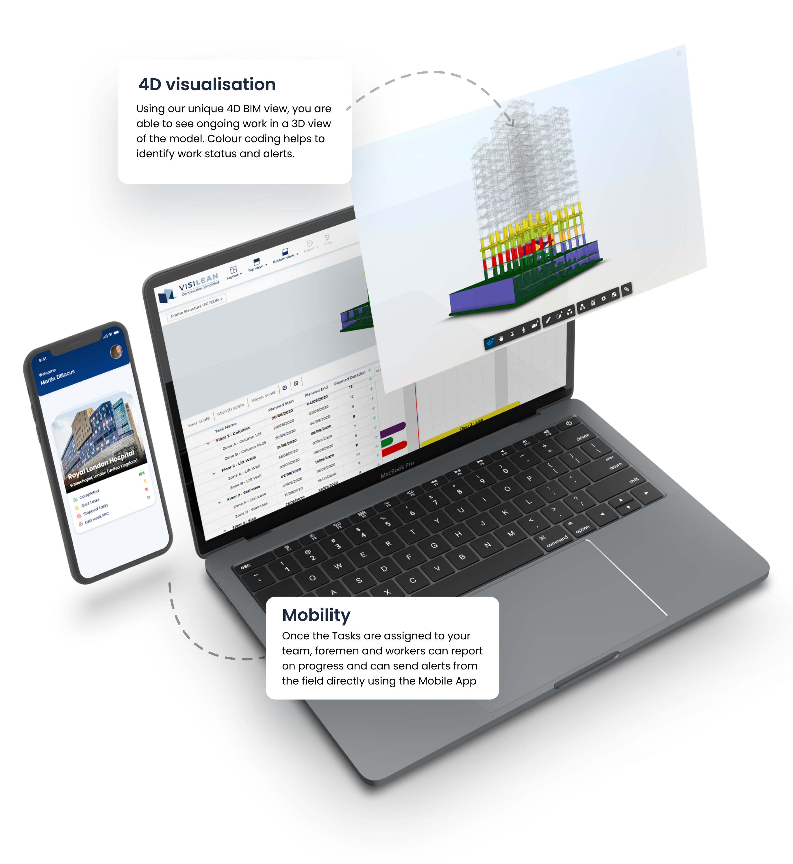 VisiLean Software - Lean-BIM integrated software supported with mobile app