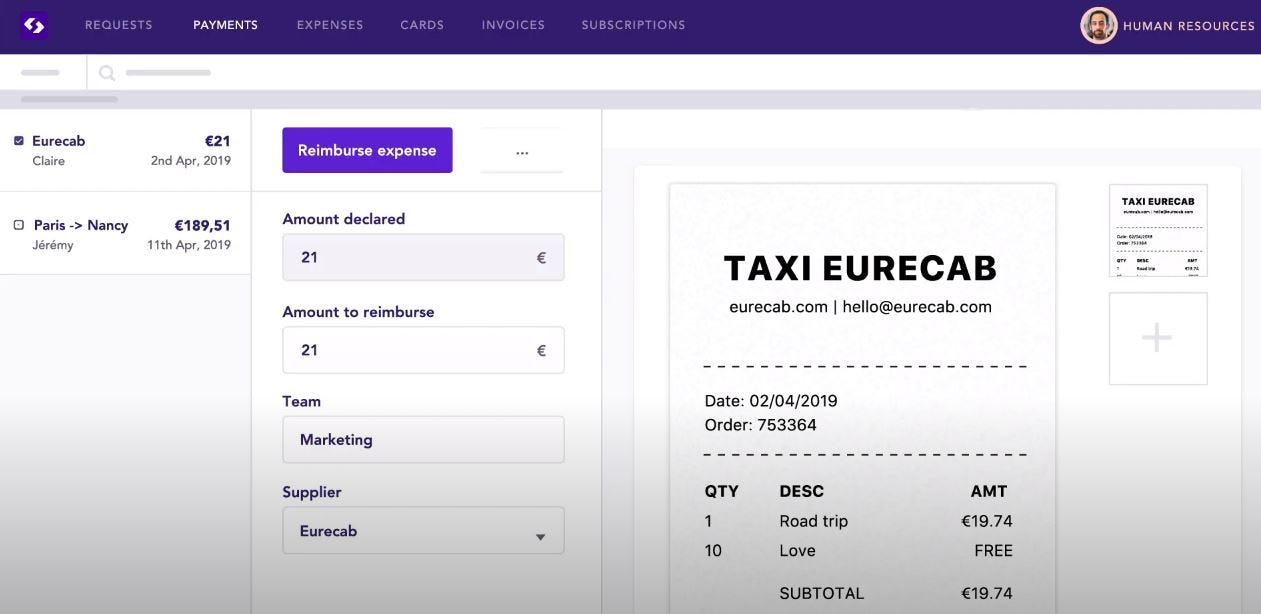 Spendesk Software - Spendesk reimburse expenses