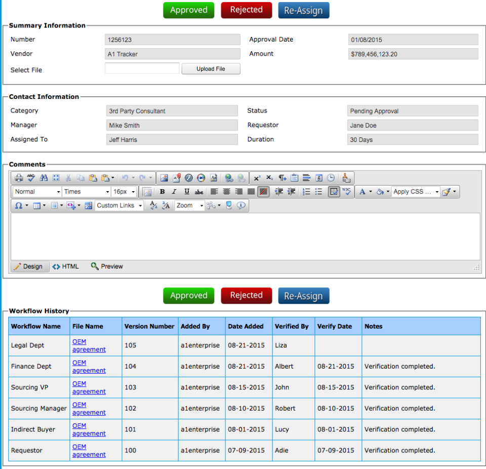 A1 Tracker Software - Contract Workflow Porta