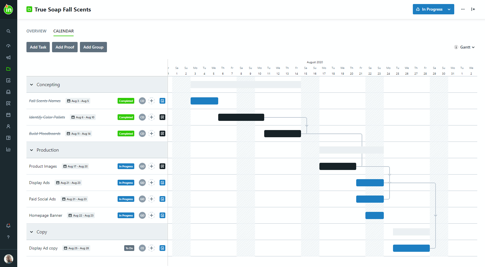 Visualize your project timeline and dependencies with the Gantt view. Click and drag a date range to extend it or move it, and your dependencies will adjust accordingly!