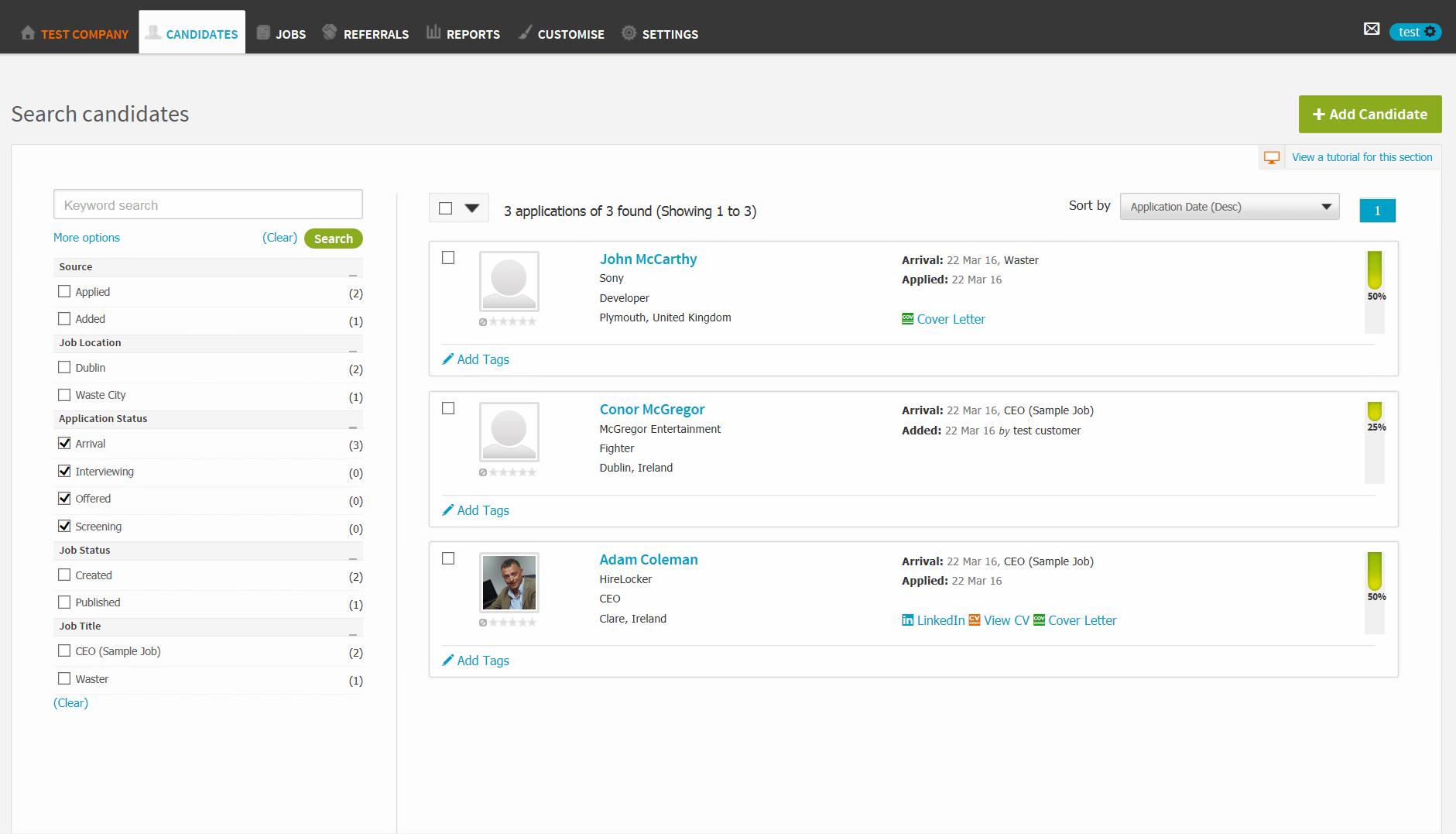 HRLocker Software - HRLocker candidate search