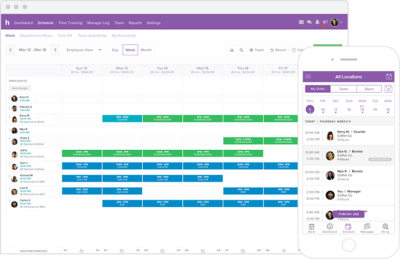 Employees can view schedule from their computer or mobile device