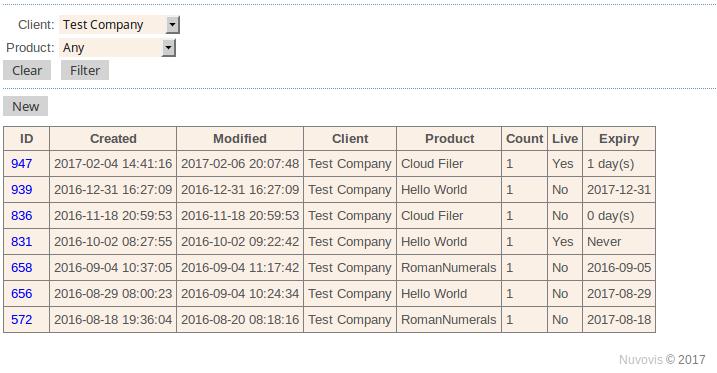 Nuvovis screenshot: Access the portal license list