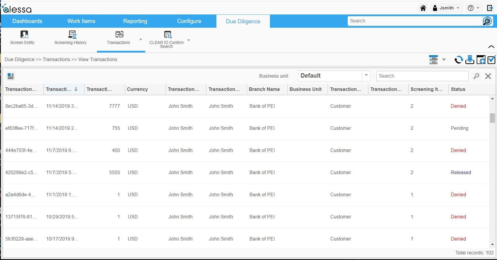 Alessa Software - Alessa transactions list