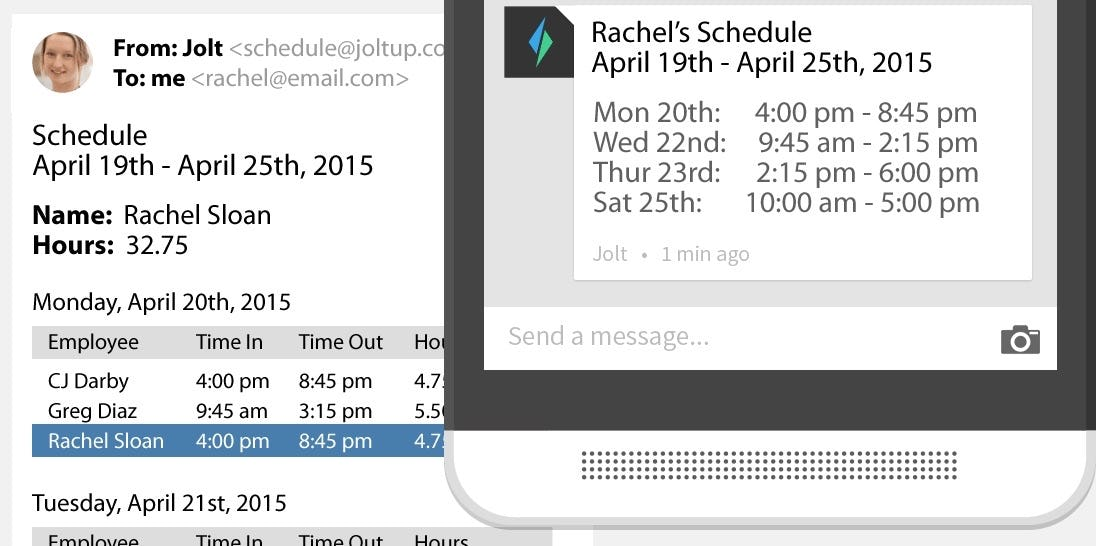 Jolt - Email and text notifications