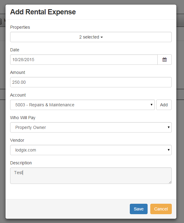 Users can add rental expenses into Lodgix, and attach these to specific properties