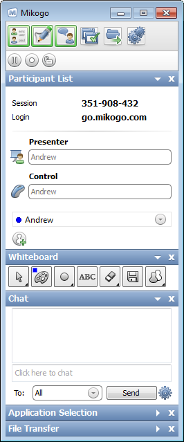 The Mikogo interface showing the participant list, whiteboard, chat, application selection and file transfer.