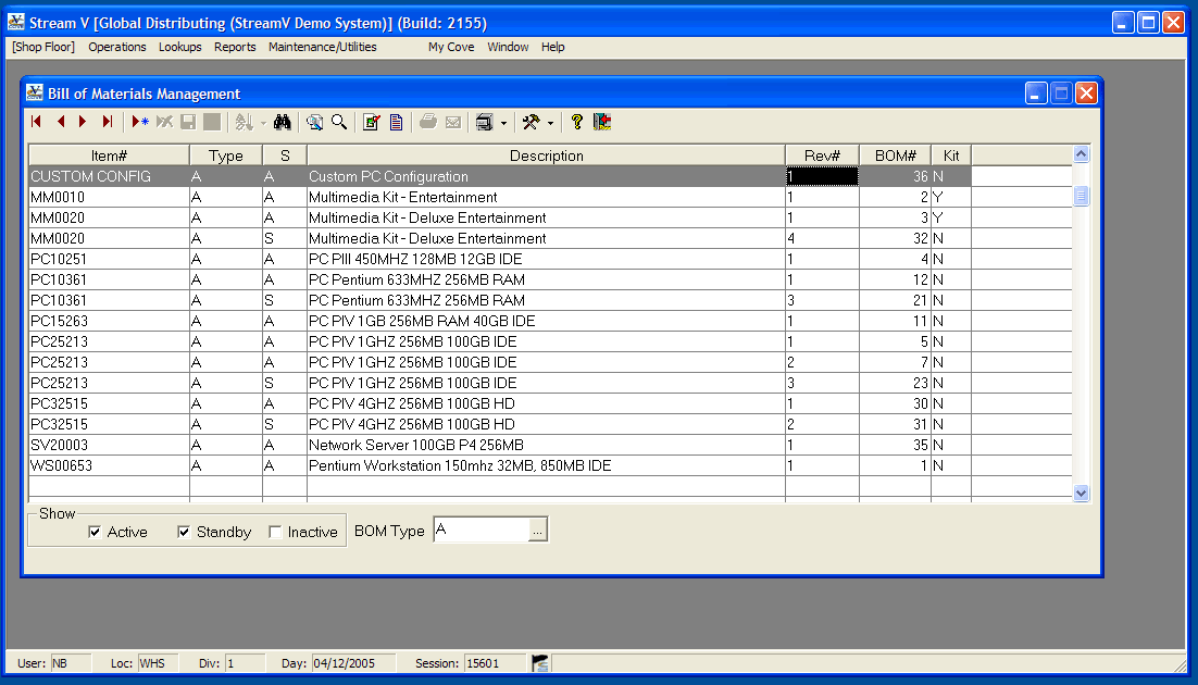 The Bill of Materials Management view in Stream V.