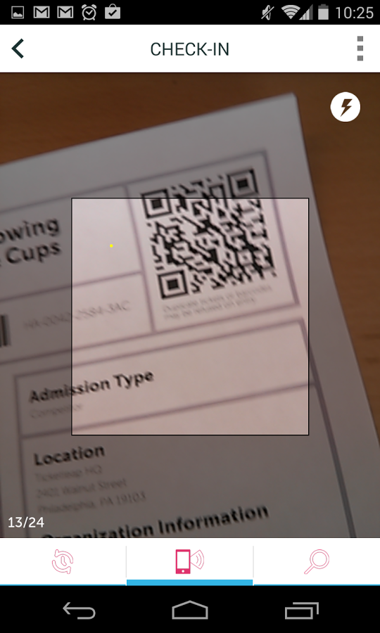 TicketLeap screenshot: Ticketleap for Android showing check in screen and QR scanner