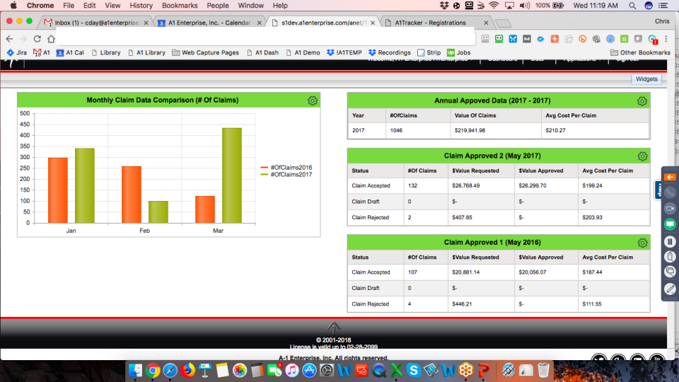 A1 Tracker Software - Claims Dashboard Analytic