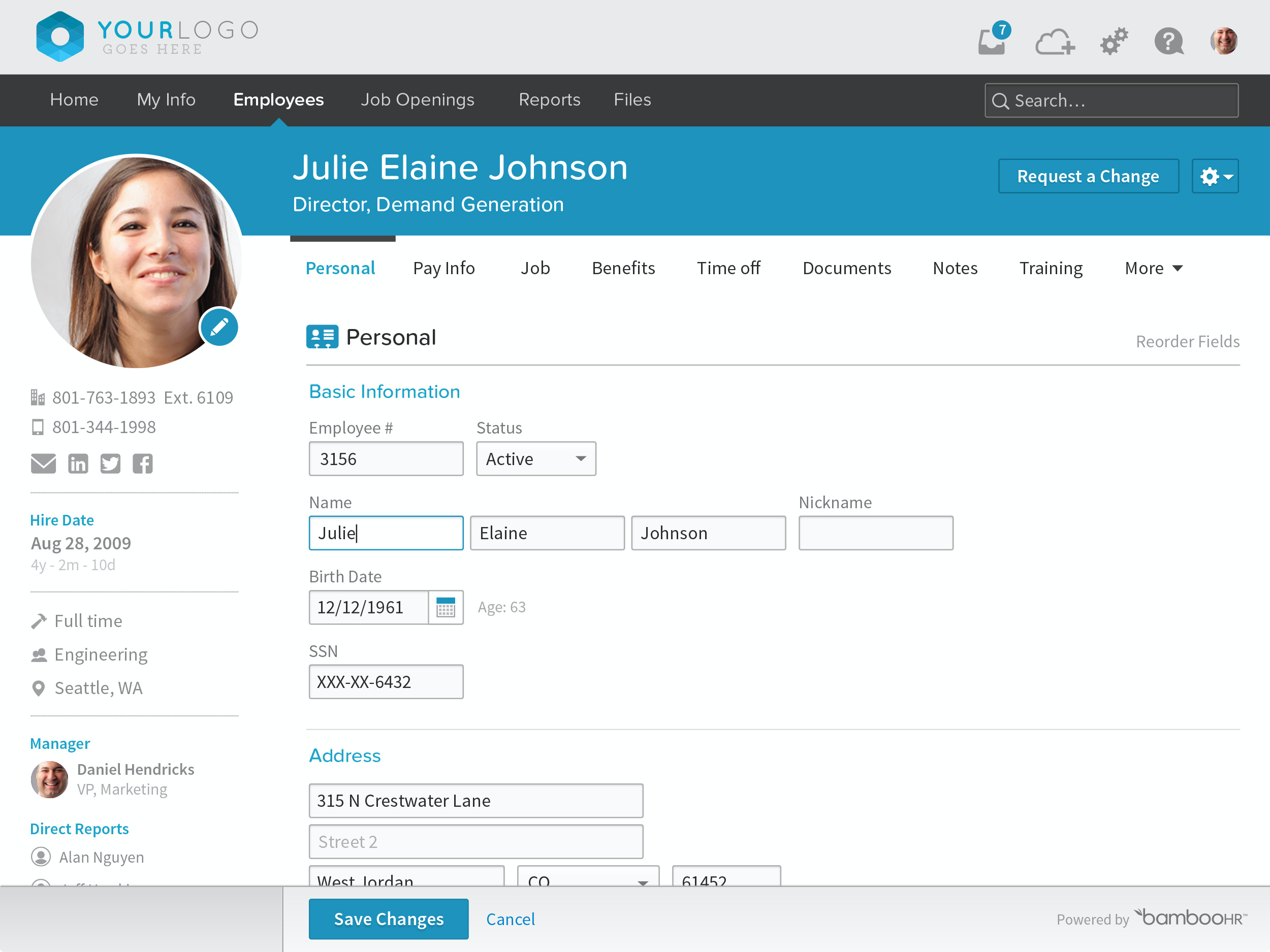 BambooHR Software - BambooHR Employee Personal Information