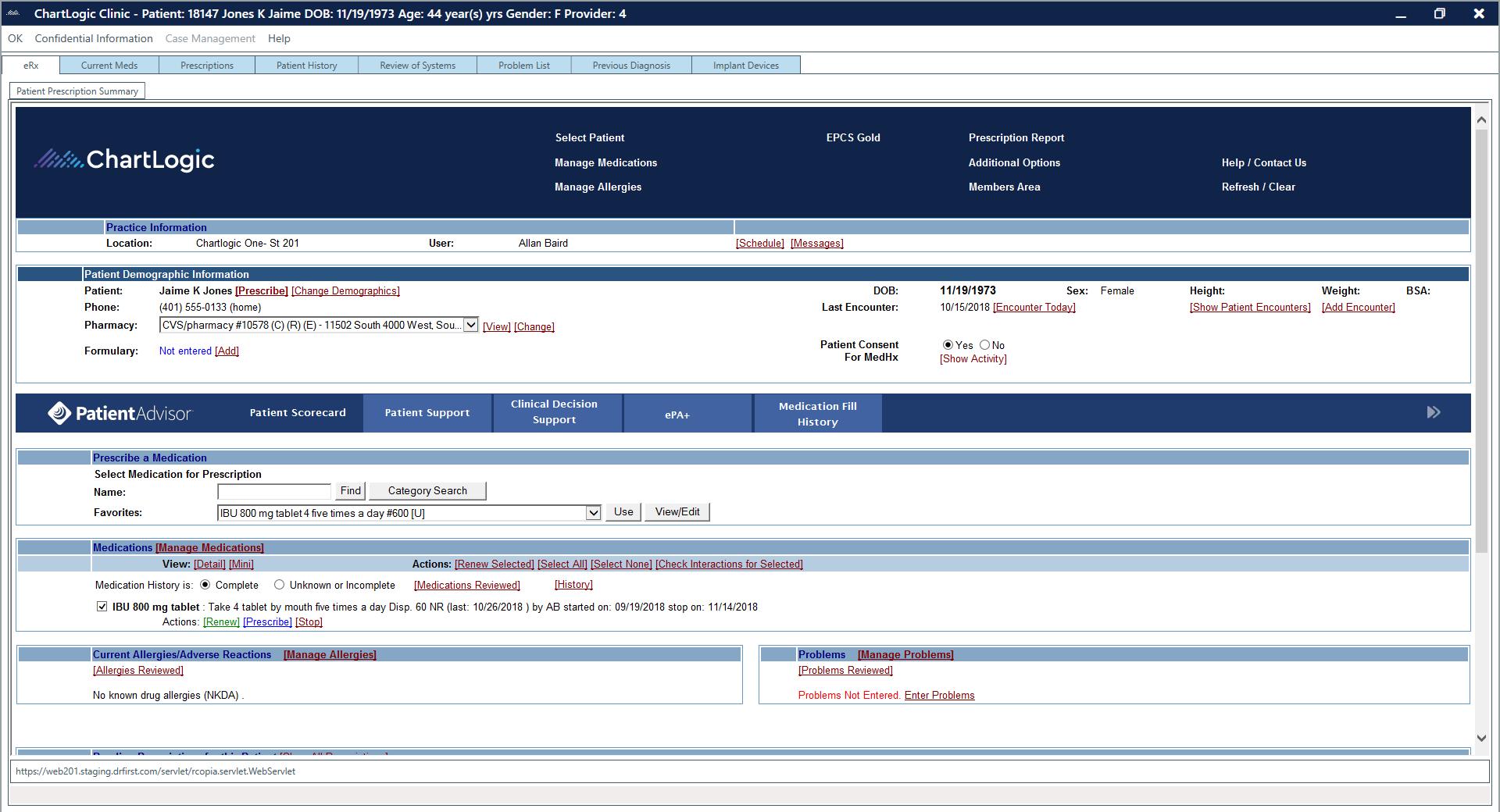 ChartLogic EHR Software - Patient prescription summary