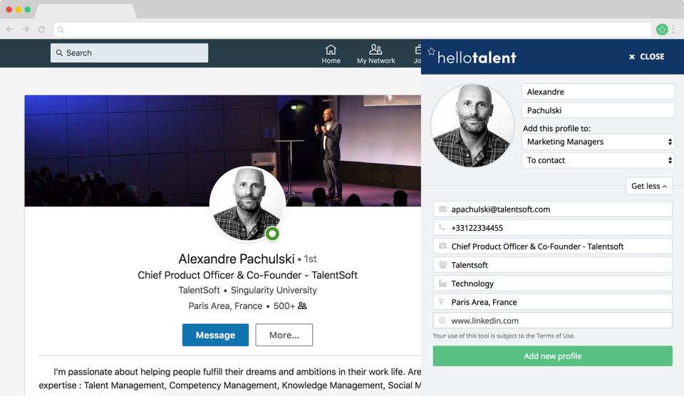 Hello Talent screenshot: The browser extension allows users to source candidates from any website