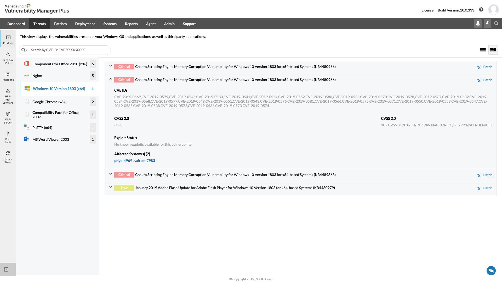 ManageEngine Vulnerability Manager Plus Software - Vulnerabilities