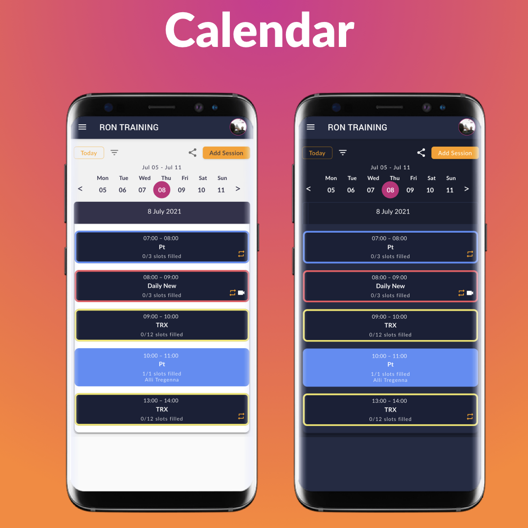 Share your timetable! Public or Private? You choose how to set-up your calendar. Enable clients to access your calendar and schedule a workout or control the bookings yourself.