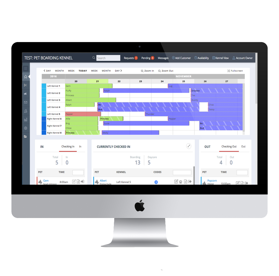 Bookings and schedules can be managed through ProPet's dashboard