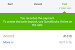 Quickbooks Online screenshot: Invoices can be tracked from initial sending to payment