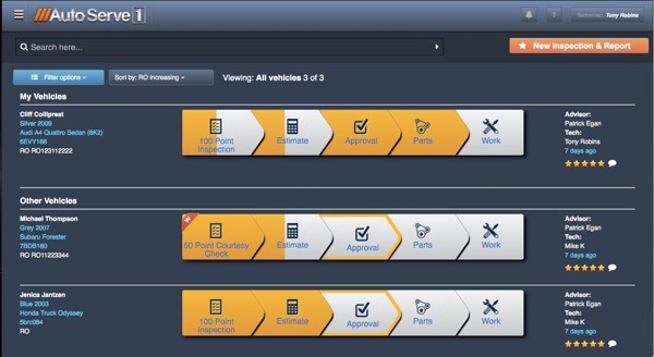 AutoServe1 screenshot: All team members can get an at-a-glance view of progress within the workflow