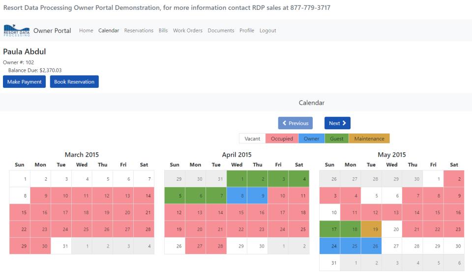 RDPWin owner portal calendar