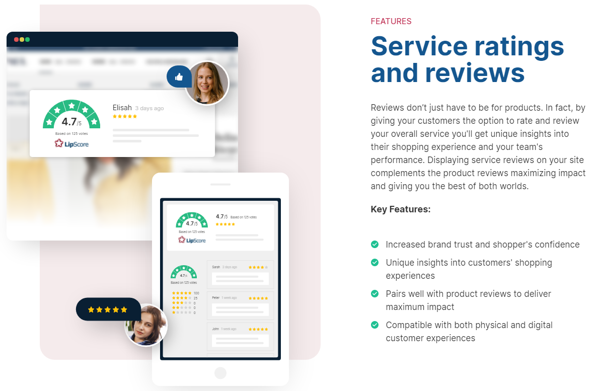 Service ratings and reviews