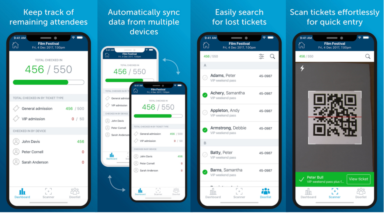 Free check-in app to smoothly manage entry. Search tickets, sync multiple devices, scan effortlessly