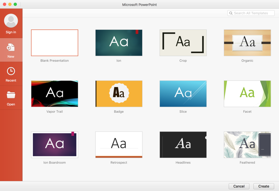 Microsoft PowerPoint select theme