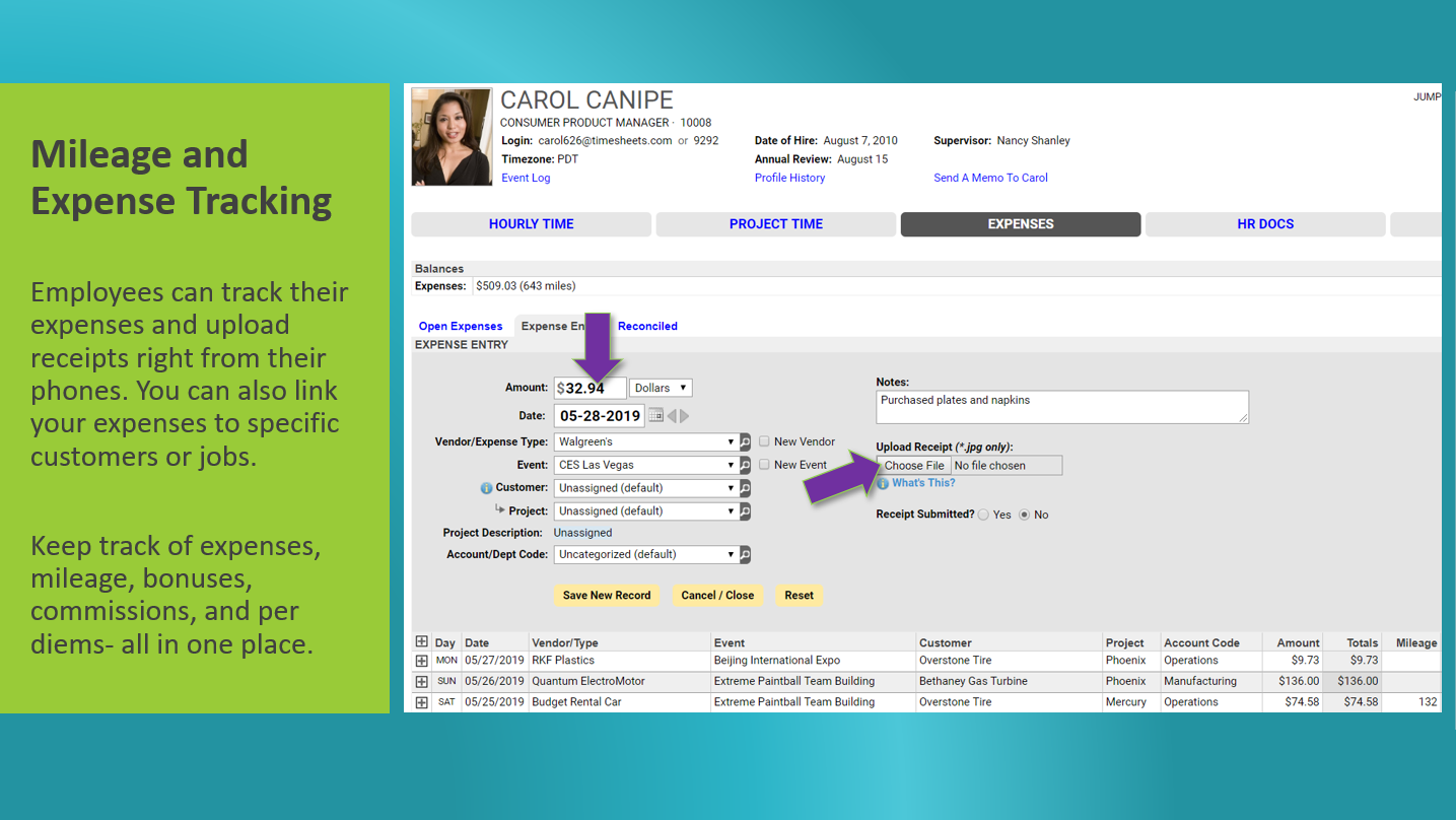 The expense timesheet shows recorded expenses and allows employees to upload receipts.