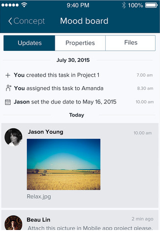 Files can be uploaded into Taskworld to be shared with team members