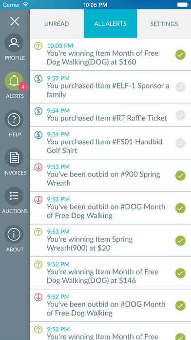 Unread alerts and a full alert history can be accessed in the Handbid mobile app