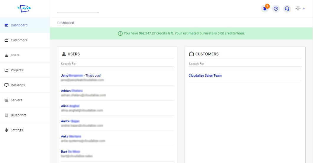 Cloudalize screenshot: Cloudalize dashboard