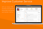 ClubWorx screenshot: Improve customer service with our robust CRM, payment management, email/SMS messaging, and member metrics.