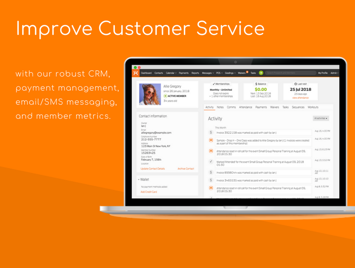 Improve customer service with our robust CRM, payment management, email/SMS messaging, and member metrics.
