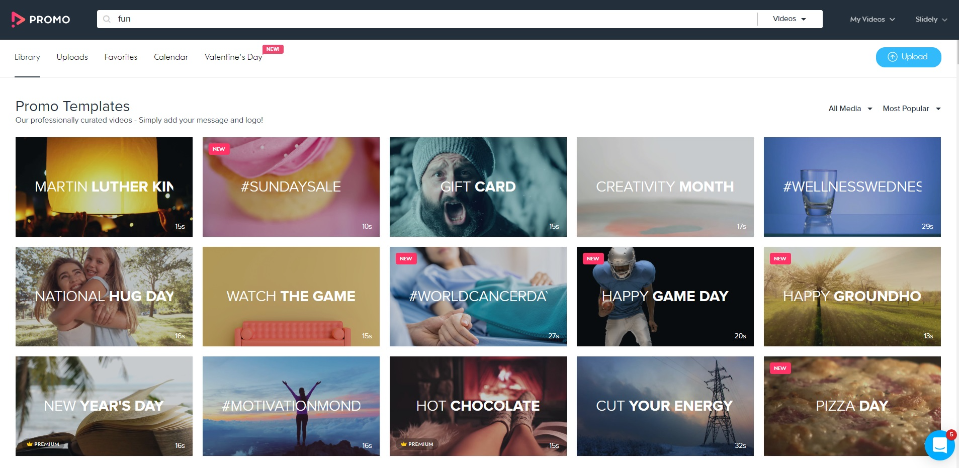 Choose from Promo's selection of over 15 million video clips and templates.