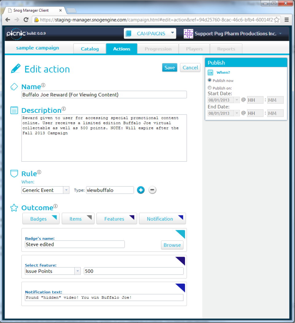 The flexible rules engine allows users to define rules and outcomes for gamification