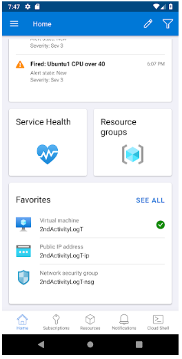 Microsoft Azure mobile dashboard