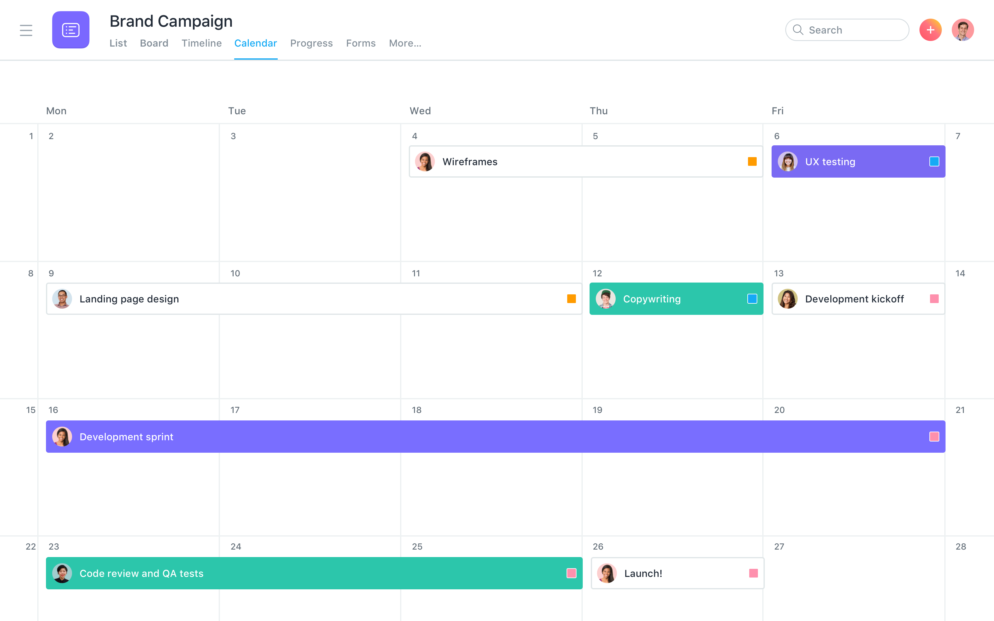 See any list of tasks on a calendar to get a clear view of when work is due. See all of each team's work in one calendar to know exactly who's doing what by when.