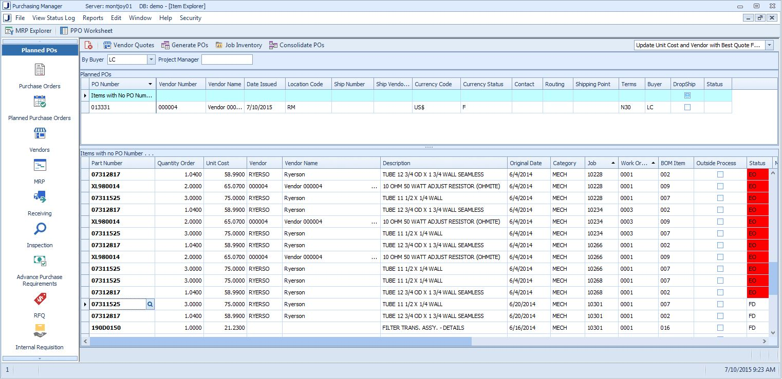 Purchase Order automation from worksheets