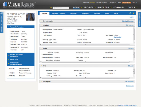 Map icons link directly to lease records in Visual Lease