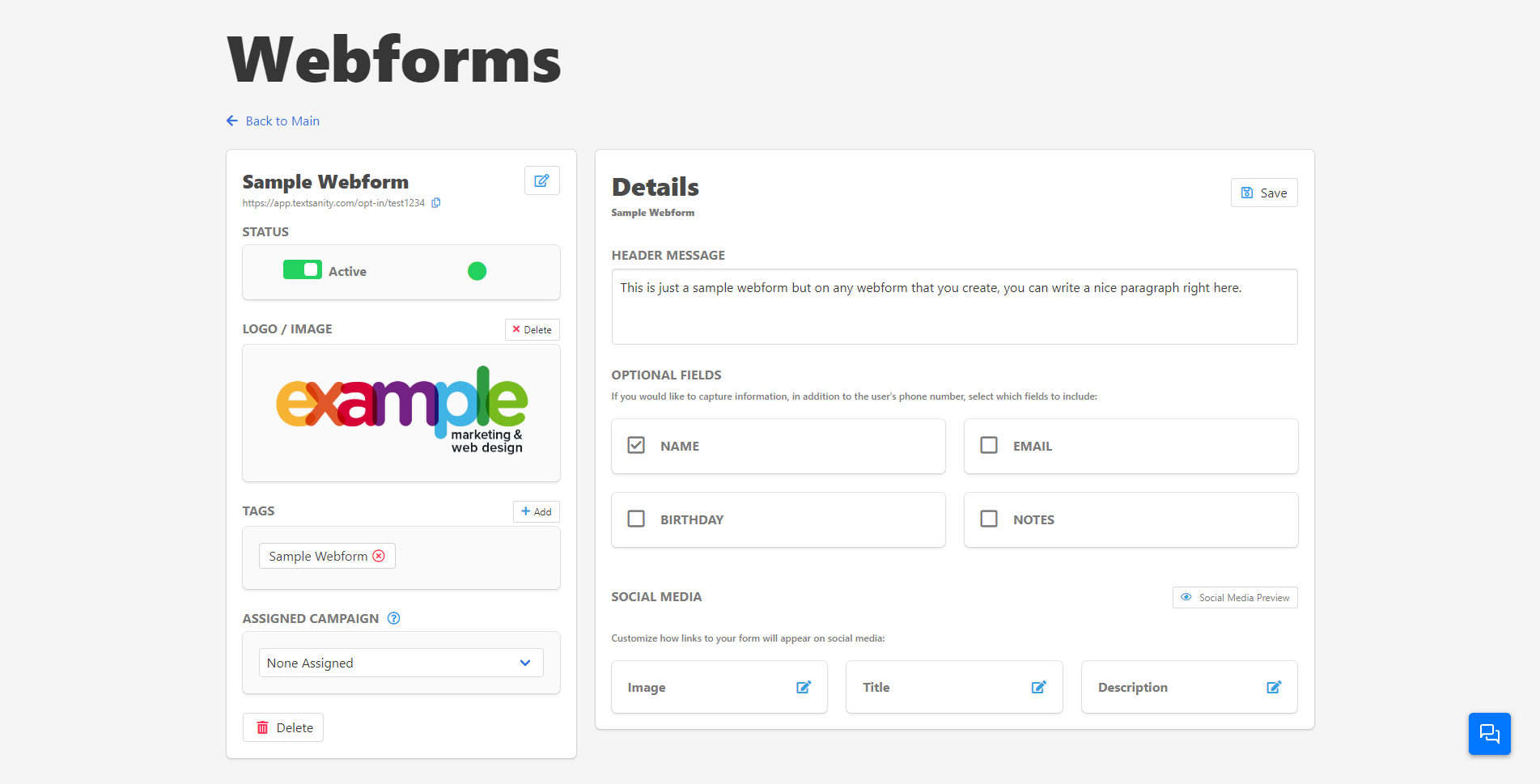 TextSanity sample web form screenshot