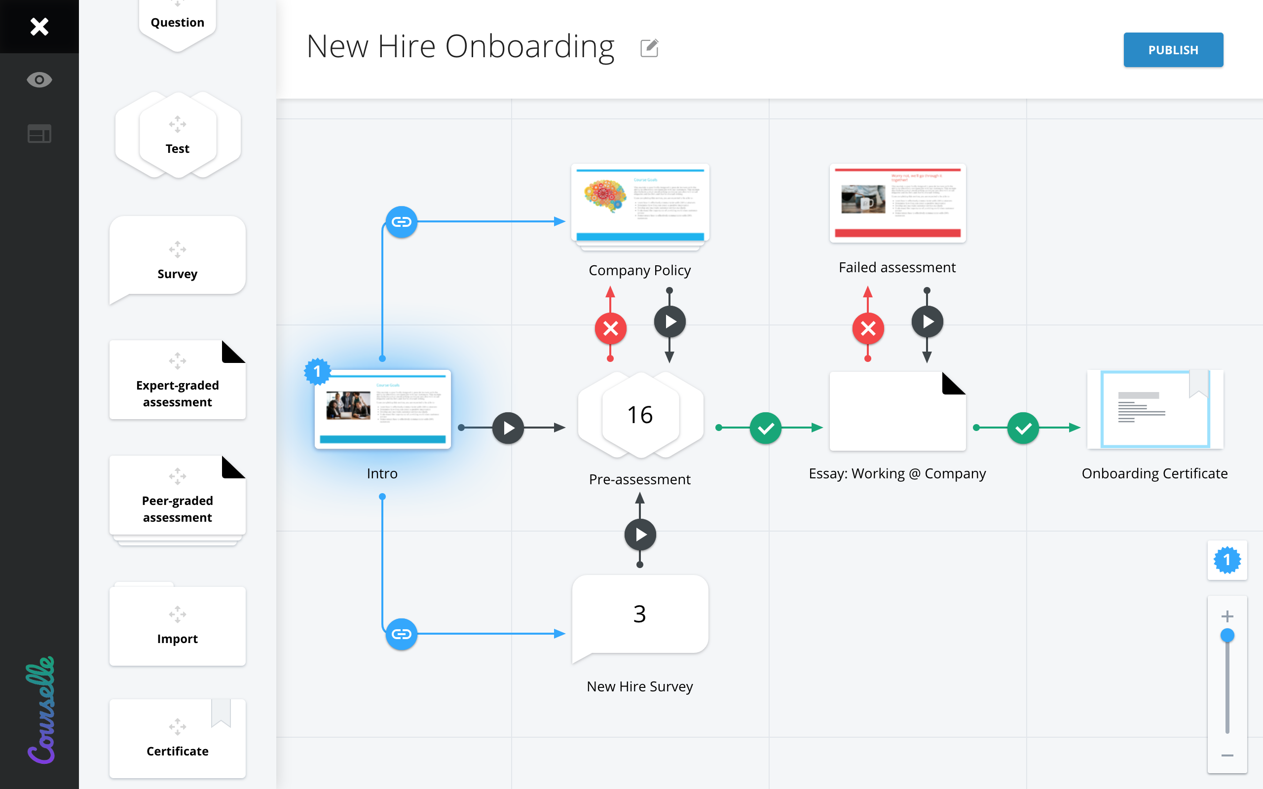 Geenio screenshot: Visual drag and drop course map builder allows to plan the flow of the online training and link various types of activities into engaging learning experience.