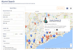 360Alumni screenshot: Your alumni will LOVE the interactive map and directory, which lets them quickly find the most relevant people to connect with.