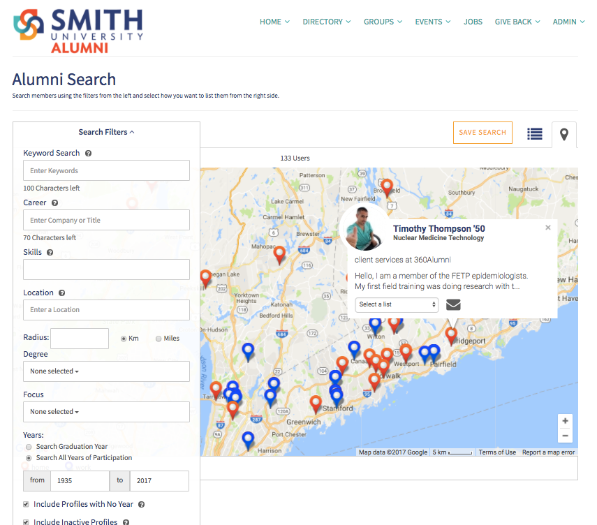 Your alumni will LOVE the interactive map and directory, which lets them quickly find the most relevant people to connect with.